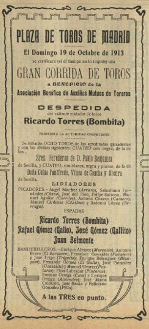 1913-10-19 Cartel despedida Bombita
