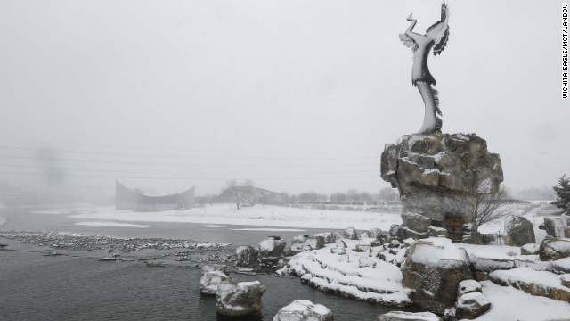 The 'Keeper of the Plains' statue is blanketed with snow in Wichita, Kansas, on 25 February 2013. Photo: Wichita Eagle / MCT / Landov CNN