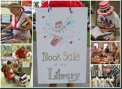 book sale collage