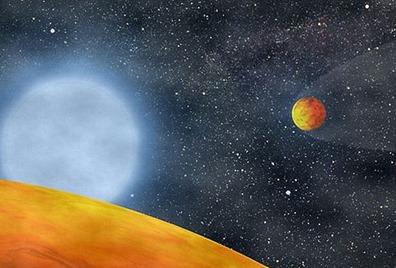 ilustração dos exoplanetas ao redor da estrela KOI 55