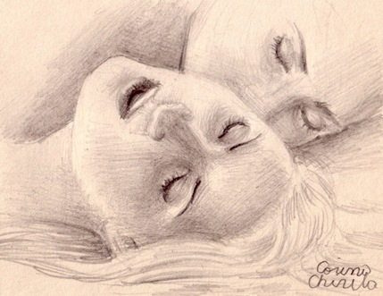 Un sarut pasional pe urechea ei  desen in creion - A passionate kiss on her ear pencil drawing
