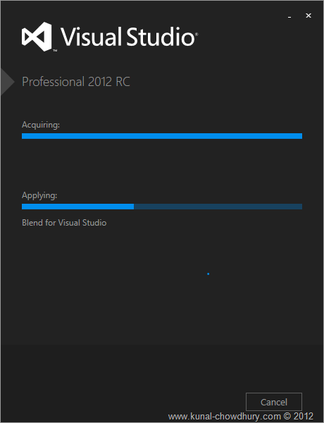 VS2012 Installation Experience - Screen 3 - Installation of Expression Blend for Visual Studio