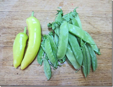 Hungarian wax peppers and snow peas