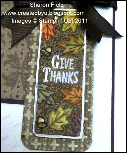 Jacksonville, Florida, Its A Wrap Holidays, chocolate, embossing, guys, masculine, thanksgiving, mocha morning, embossing, herringbone, brads, double loop bow, sharon_field, Createdbyu_Blogspot