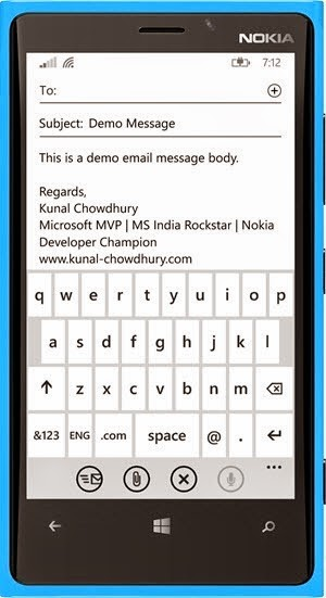 Compose Email Screen in Windows Phone 8.1 (www.kunal-chowdhury.com)
