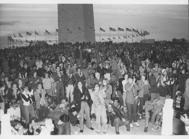 The crowd gathers on the National Mall for the first National March on Washington for Lesbian and Gay Rights. October 14, 1979.