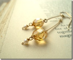 citrine gold stick earr09