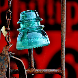 Insulator on a Stick by Erin Czech - Artistic Objects Glass ( sign, insulator, chain, blue, glass, rust )