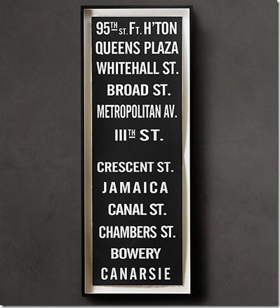 Subway Sign Art 95th  Art  Restoration Hardware