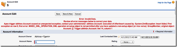 mixed_dml_operation error on salesforce ui, after trigger failure