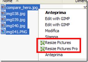 Free Image Resizer voci integrate nel menu contestuale del mouse