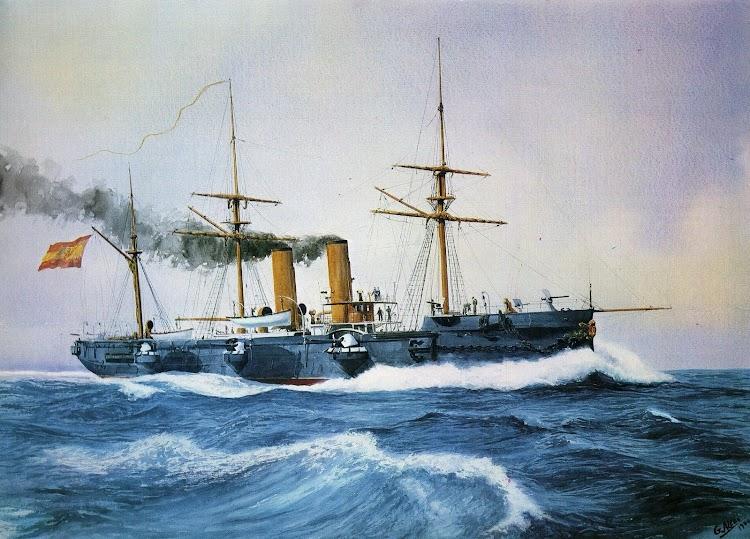 El crucero REINA CRISTINA. Óleo de G. Aledo. Del libro EL BUQUE EN LA ARMADA ESPAÑOLA.JPG