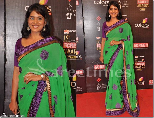 Konkana_Sen_Green_Georgette_Saree