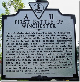 First Battle Of Winchester marker A-11 south of Winchester, VA