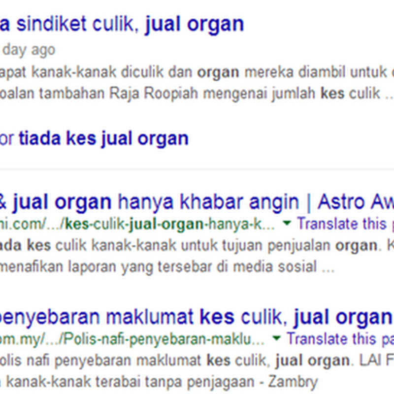 ' Jual organ ' tidak berasas ?