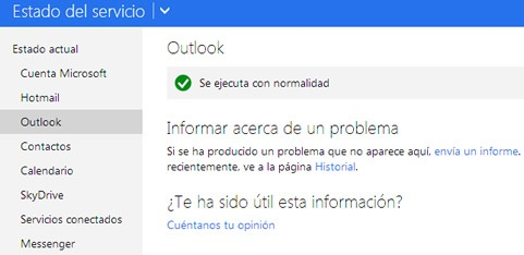 Error del servicio de Outlook