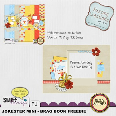 MDK Scraps - Jokester Mini - Brag Book Page Freebie Preview