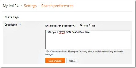 blogger meta description for homepage