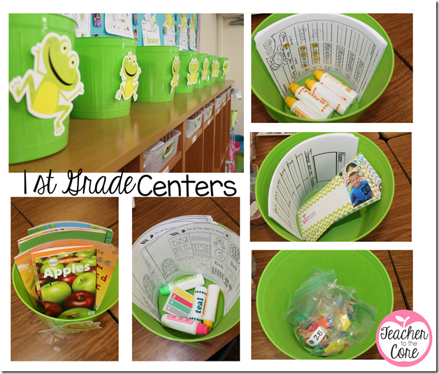 dollar store trash cans and Creative Teaching Press frongs make these centers tubs so cute