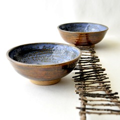 denim and blue small bowls by glazedOver Pottery