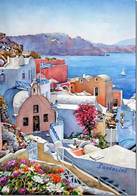 santorini grecia - picturi in acuarela