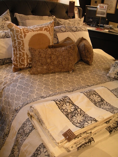 The bedding at Jayson Home is so refreshing, with patterns and fabrics that are just in keeping with the store's theme.