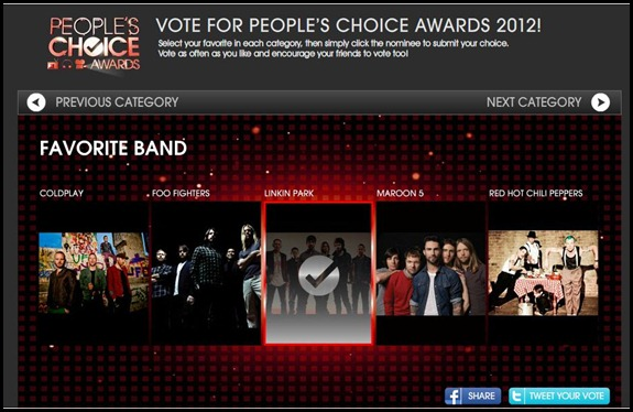 choise award LInkin Park Vote