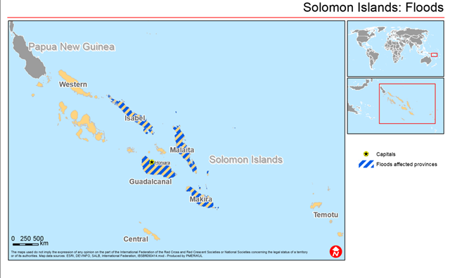 Map showing flood affected provinces in the Solomon Islands, following the record flooding in April 2014. Graphic: International Federation of Red Cross and Red Crescent Societies