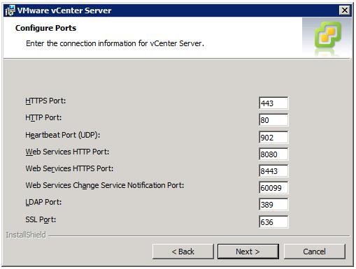 VMware vCenter Server Installer - Configure Ports
