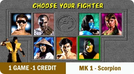 1 game - 1 credit - MK1-Scorpion