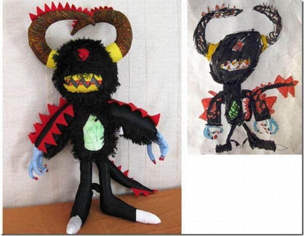 Brinquedos de pelúcia feitos a partir de desenhos de crianças (13)