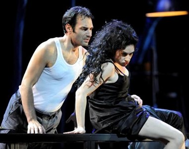 Rinat Shaham as Carmen and Nikolai Schukoff as Don José in Bizet's CARMEN at Festspielhaus Baden-Baden [Photo by the Associate Press; photographer uncredited]