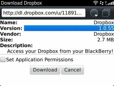 DropBox for BlackBerry v1.0.55 updated Now support OS 7