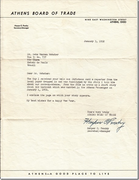 Mr. Pendry's Letter to Debs Webster January 3, 1952