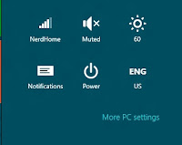"The quick settings section which appears on the home screen via the ""charms"" interface"