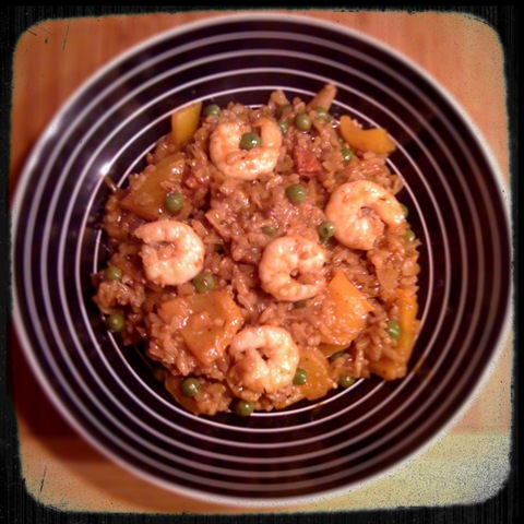 Prawn and chorizo paella