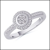 Round Diamond Floral Ring in 10k White Gold