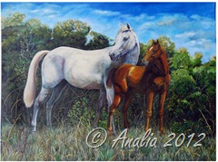 With her foal under the blue sky