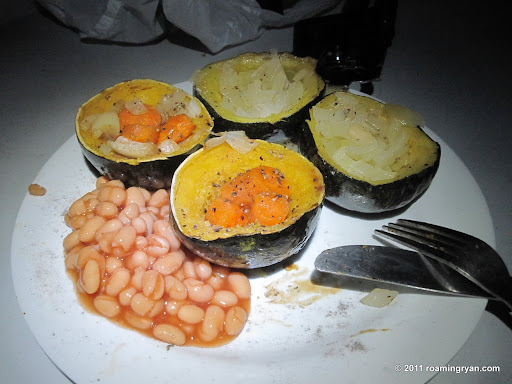 Gems (squash) stuffed with carrots and onions then roasted on the braai