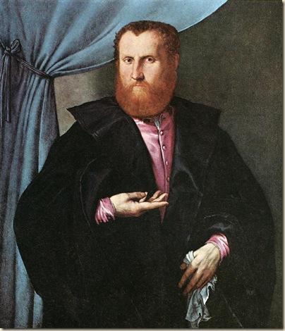 Lorenzo lotto, Portrait d'un homme en manteau de soie