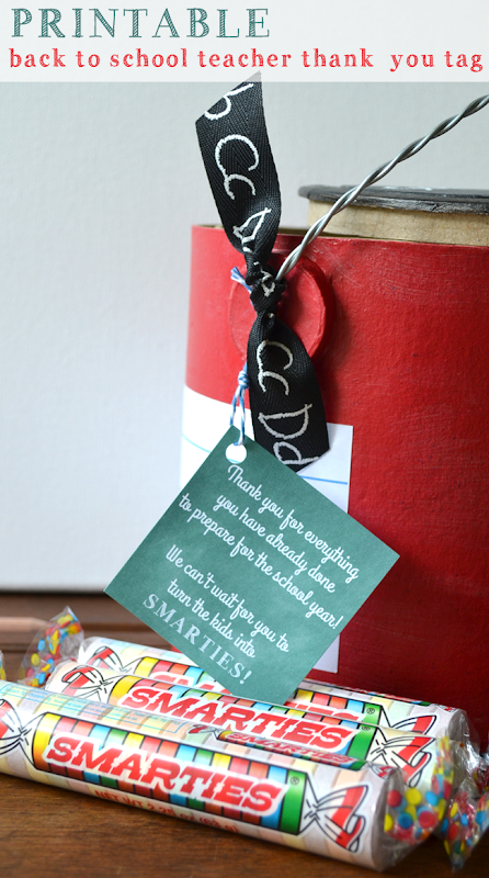 Free Printable - Back to School Teacher 'Thank You' Tag