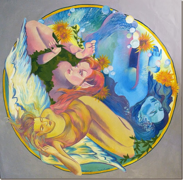 Three Muses - circular painting for Charity Wings Art Center by Raziah Roushan - CharityWingsNews.blogspot.com