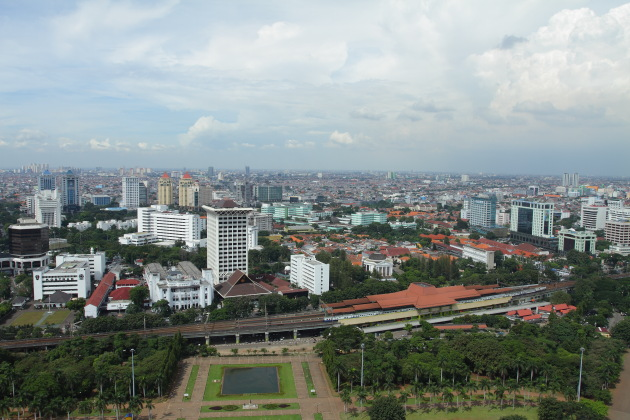 Densely packed metropolis of Jakarta, Indonesia