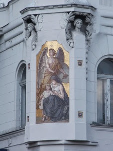 Mosaic on wall of Merkantil Bank Jozsef Attila Utca Budapest Hungary