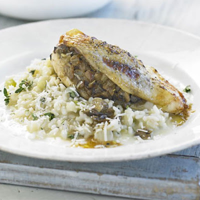 Mushroom-stuffed Chicken With Lemon Thyme Risotto