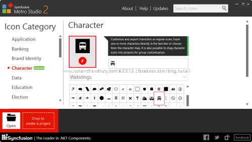 10. Syncfusion Metro Studio 2 - Create Custom Icons from Characters