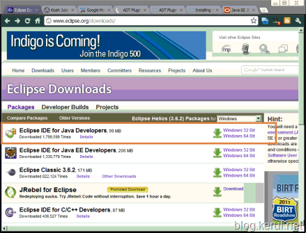 Android IDE: Eclipse Helios download page