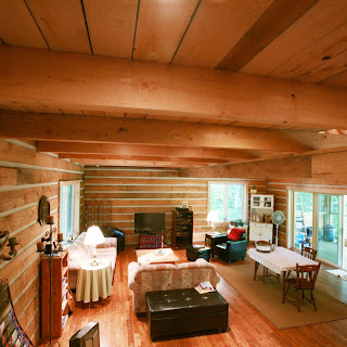 Hemlock ceiling of Ecolog home