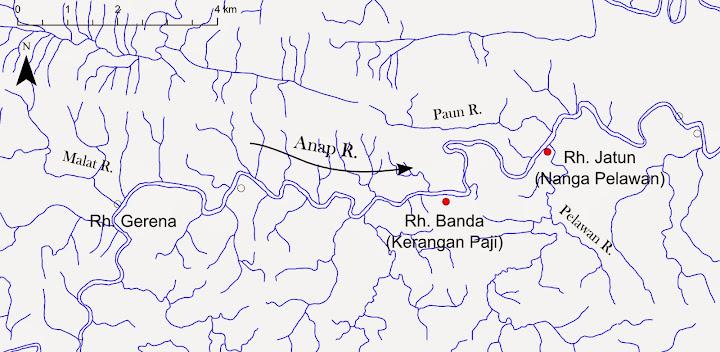 図3: Anap川中流のブカタンのロングハウス周辺の地図
