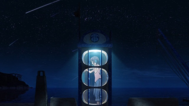Hikari's older sister, Akari, makes a phone call in a booth at night while shooting stars fly overhead in the sky